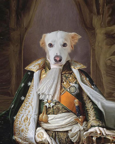 Image of Napoleon Bonaparte dog art print canvas