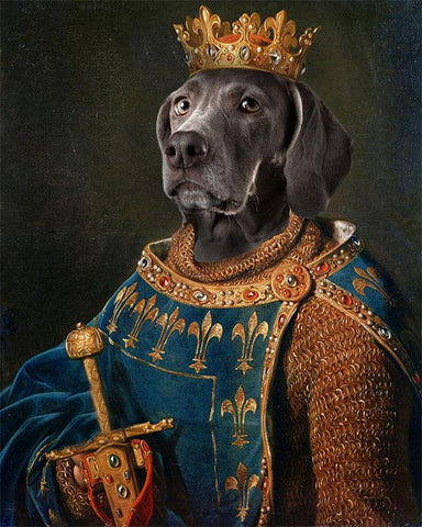 Image of King dog portrait painting canvas