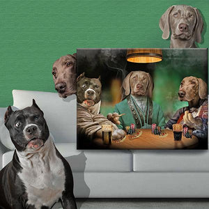 dog poker portrait