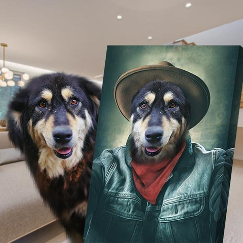 Image of cowboy colorful dog painting