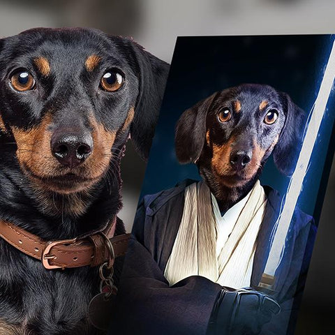Image of Jedi dog art painting