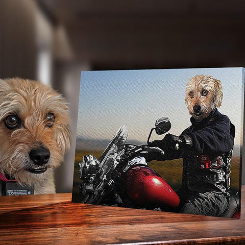 Image of biker custom dog paintings