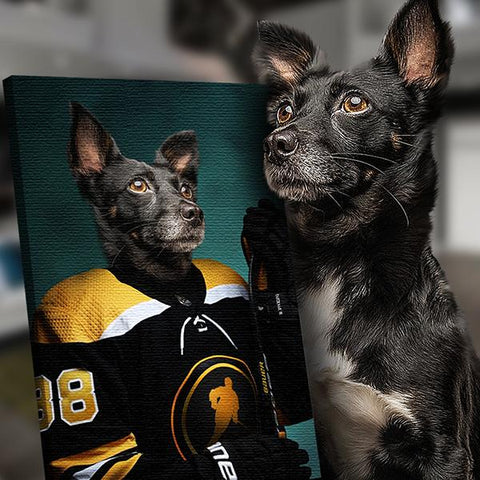 Hockey dog painting