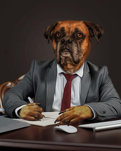 business dog canvas art