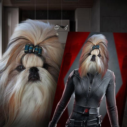Image of black widow dog portrait