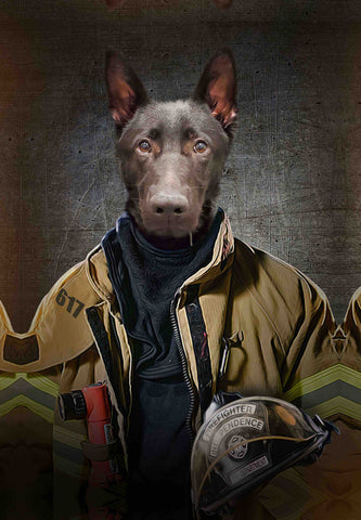Image of fire fighter pet art
