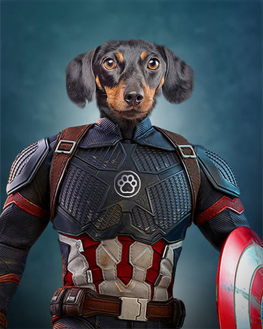 captain america dog painting