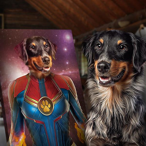 captain marvel dog painting