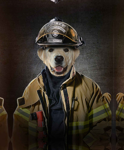 Image of fire fighter dog print