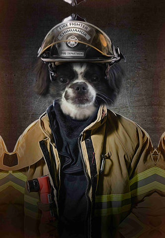Image of fire fighter dog painting