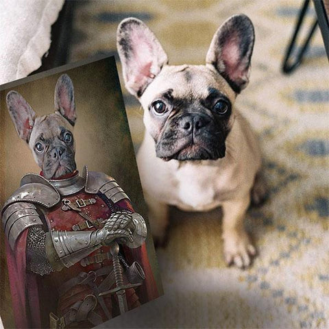 Knight dog art print portrait