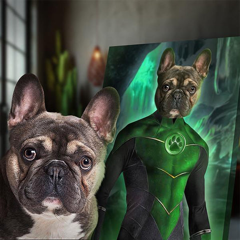 Image of green lantern dog painting