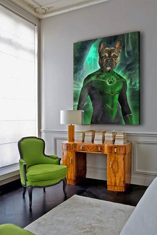 Image of warrior dog art green lantern wall decoration