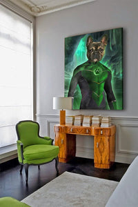 warrior dog art green lantern wall decoration
