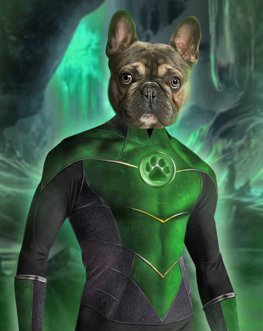 Image of green lantern dog portrait canvas