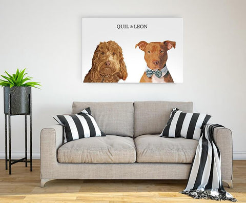 Image of Custom portrait two pets - Light background