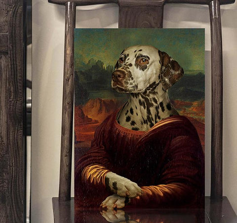 Image of Monalisa dog art print canvas