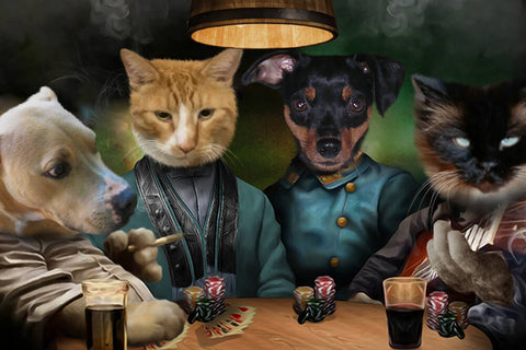 4 Pets Playing Poker // Custom Pet Portrait