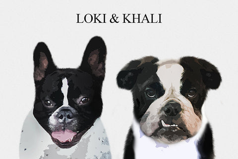 Custom portrait two pets - Light background