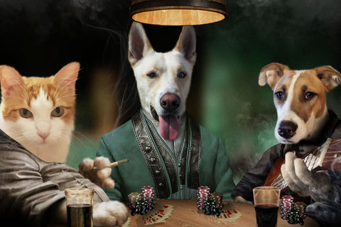 3 Pets Playing Poker // Custom Pet Portrait