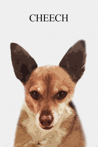 Image of Custom portrait single pet - Light background