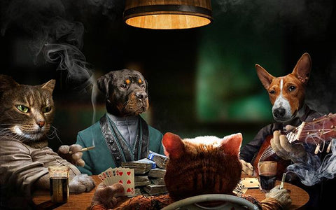 pets poker art portrait