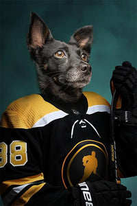 Hockey dog painting portrait