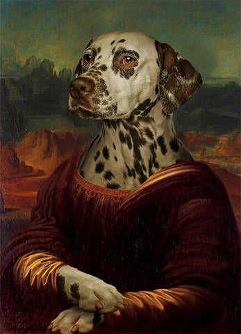 Image of Monalisa dog painting canvas print