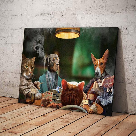 4 Pets Playing Poker // Custom Pet Portrait - GetPetPortrait