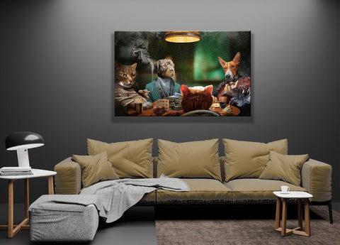 Image of 4 Pets Playing Poker // Custom Pet Portrait