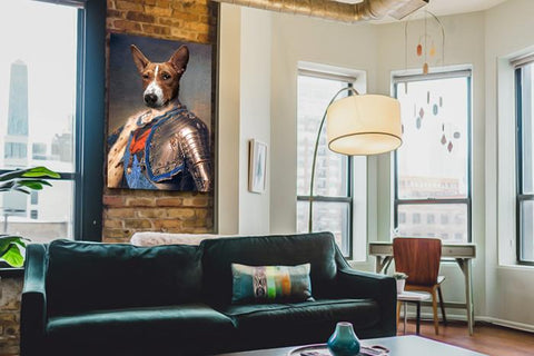 King Louis dog wall art painting canvas