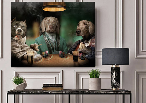 Image of 3 Pets Playing Poker // Custom Pet Portrait