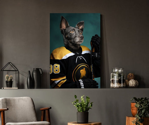 Hockey dog wall canvas decoration art