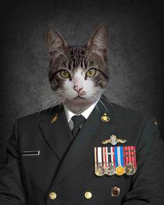 Navy cat art print portrait