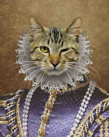 Queen cat portrait art