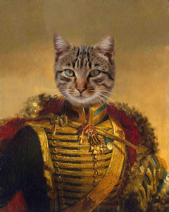 Fieldmarshal cat portrait painting