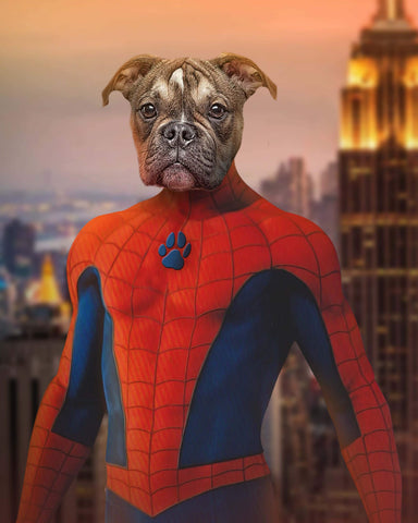Image of Spiderman funny dog painting