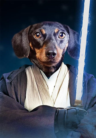 Image of Jedi dog painting portrait canvas