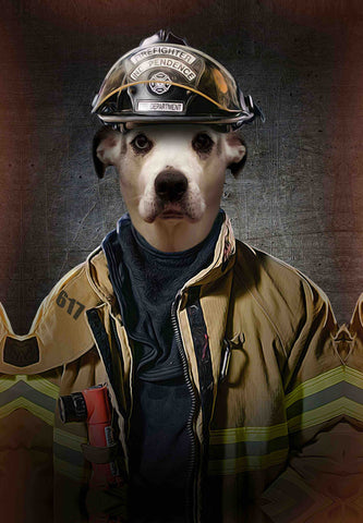Image of fire fighter dog canvas portrait