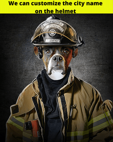 Image of fire fighter dog art