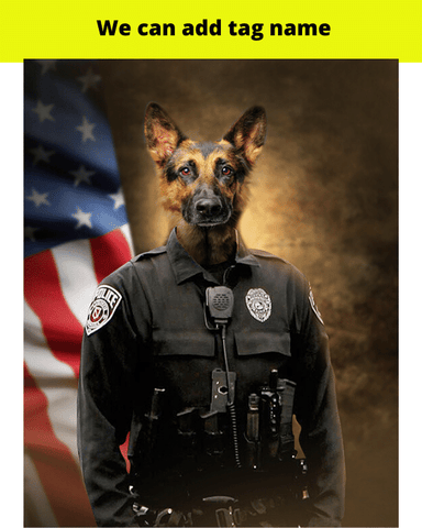 Image of K9 dog painting portrait canvas