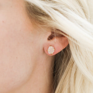 Rose Quartz Gemstone Prong Earrings - JaxKelly