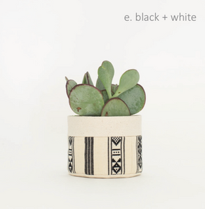 Small Sitting Canvas Planter in Black and White - Good Company Wares