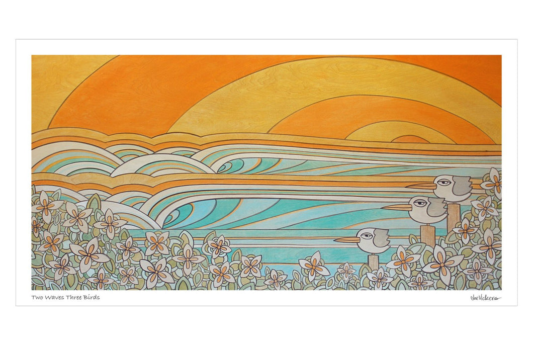 Two Waves Three Birds Print - Joe Vickers Art