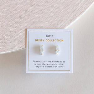 White Druzy Bar Stud Earrings - JaxKelly