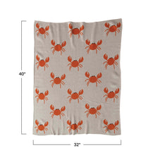 Load image into Gallery viewer, Cotton Knit Baby Blanket w/ Crabs - Creative Co Op
