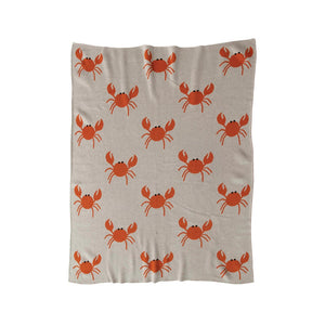 Cotton Knit Baby Blanket w/ Crabs - Creative Co Op