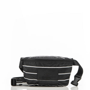 Pinstripe Mini Hip Pack in White on Black - Aloha Collection