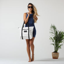 Load image into Gallery viewer, Pinstripe Zipper Tote - Aloha Collection