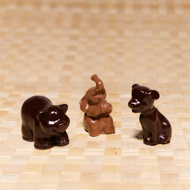 Chocolate animal figures, cake toppers, decorations